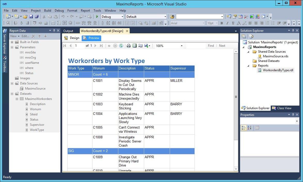 Preview the report in Microsoft Business Development Studio.