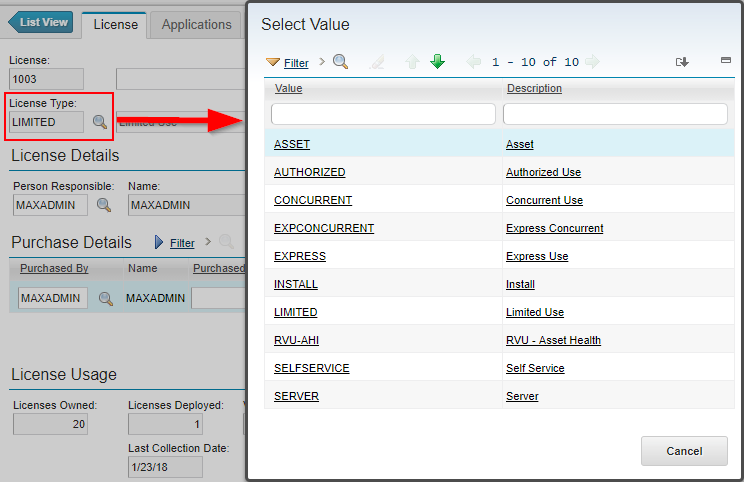 License Types dialog box in Maximo License Usage Monitor Application